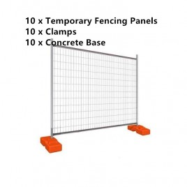 Temporary Fencing System 10 Panels 2100mmx2400mm with Concrete Feets Clamps
