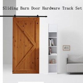2M Sliding Barn Door Hardware Track Set Kit Powder Coat Steel Black (T Shape Pulley)