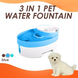 3L Auto Waterfall Drinking Fountain Cat dog Pet Drinker Water Bowl with Filter (Blue)