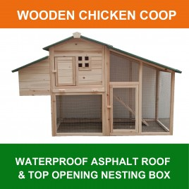 Weatherproof Villa Chicken Coop Hen House Rabbit Guinea Pig Ferret Hutch with Nesting Box R006