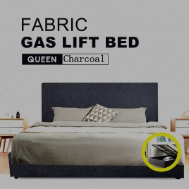 Fabric Square Tufted Gas Lift Storage Bed Frame Queen Charcoal CB120