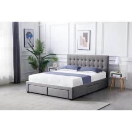 Fabric Square Tufted Storag Bed Frame Queen Full Size with 4 Drawers Grey