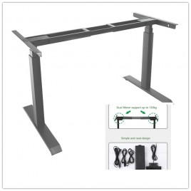 Frame Only Sit Stand Grey Motorised Electric Height Adjustable Office Desk Dual Motor
