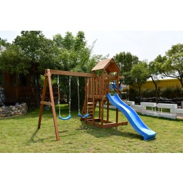 Backyard Wooden Swing Climb & Slide Set Playset