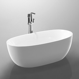 Bathroom Acrylic Free Standing Bath Tub Thin Edge 1700 x 800 x 600 Freestanding (Egg)