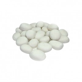 24 Piece Ceramic Ethanol Gas Fireplace Pebble Set in White