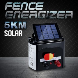 5km Solar Electric Fence Energiser Energizer Power Charger 0.15J Farm Pet Animal