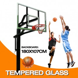 72 inch Professional In-ground Basketball System with Hoop Tempered Glass Backboard