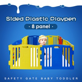 Sided Plastic Playpen Safety Gate Baby Toddler Child 8 panel 1.6x1.6m 3 shapes