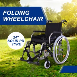 "24"" Tyres Quick Release Folding Wheelchair (Solid PU Tyre)"