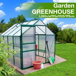 Polycarbonate & Aluminium Walk-in Greenhouse 260x195cm Green (6mm Panel) Pre-order