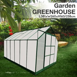 Polycarbonate & Aluminium Walk-in Greenhouse 381x260cm Green (6mm Panel) Pre-order