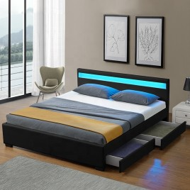 LED Bed Frame Queen Full Size with 4 Drawers Black PU Leather
