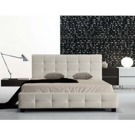 Italian Design Deluxe Mondo Faux Leather Bed Frame (Double Size,White)