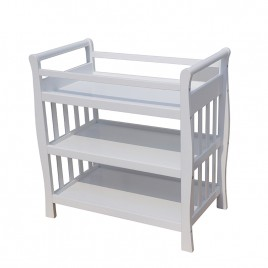 Baby Sleigh Change Table Wooden 3 Tier Changetable White