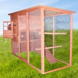 2.3M Weatherproof Chicken Coop Hen House Rabbit Hutch with Removable Tray Sliding Door 230x90x130(H)cm