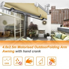 4.0x2.5m Motorised OutdoorFolding Arm Awning with hand crank BEIGE