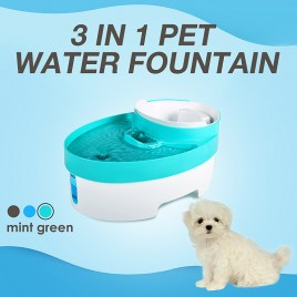 3L Auto Waterfall Drinking Fountain Cat dog Pet Drinker Water Bowl with Filter (Green)