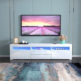 Modern LED TV Cabinet Entertainment Unit Stand High Gloss Furniture 2000mm White