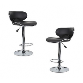 2x Black PU Leather Figure-Eight Kitchen Bar Stools (AD)