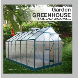 Polycarbonate & Aluminium Walk-in Greenhouse 381x260cm Green (6mm Panel)