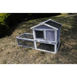 Rabbit Chicken Coop Guinea Pig Ferret Hen Hutch Cage House with Run 155x91x60cm