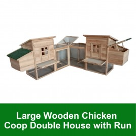 Deluxe Double House Roomy Chicken Coop w/ Run