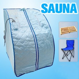 Portable Far Infrared Sauna Dry Heat Silver 106cm Large Size