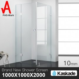 Shower Screen 1000x1000x2000mm Frameless Glass