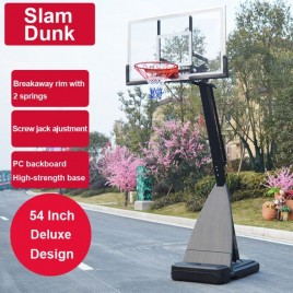 54 inch Portable Basketball Ring System Slam Dunk Height Adjustable (2.3m-3.05m) with Stand Ring Net