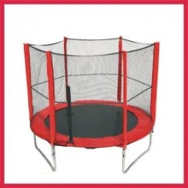 6ft Trampoline & Enclosure Set with Safety Net pad Red