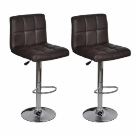 2x Brown PU Leather Full Grid Kitchen Bar Stools