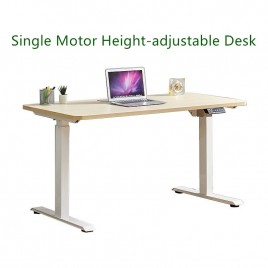 Electric Height-adjustable Computer & Laptop Standing Desk Single Motor White Frame  Maple Top