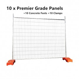 Heavy Duty Premier Grade Temporary Fencing System 10 Panels 2100mmx2400mm with Concrete Feets Clamps