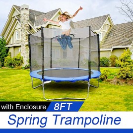 8ft Trampoline & Enclosure Set with Safety Net Ladder