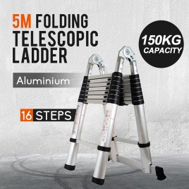 Multi Purpose 5 Meter Aluminium Telescopic Extension Ladder