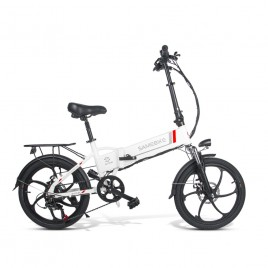 20 Inch SAMEBIKE Folding Electric Bike Bicycle Scooter E-scooter E-bike 350W Motor 10.4Ah Battery Max 35 KPH White