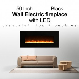 "1500W 50"" Black Wall Mounted Electric Fireplace, Heater, Fire, Flame"