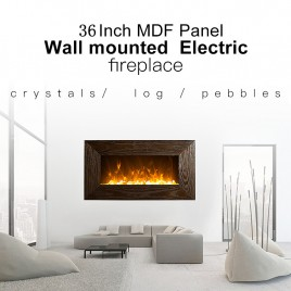 "1500W 36"" WoodenFrame(MDF) Wall Mounted Electric Fireplace, Heater, Fire, Flame"