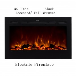 "36"" Black Built-in Recessed / Wall mounted Heater Electric Fireplace  (Pre-order)"