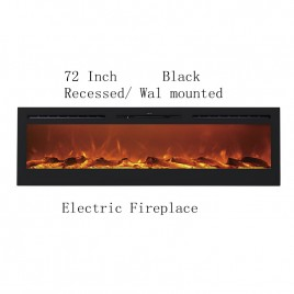 "72"" Black Built-in Recessed / Wall mounted Heater Electric Fireplace"