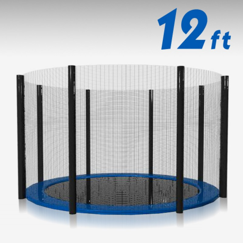 Trampoline Replacement Safety Net 12FT Netting Enclosure 8 Poles
