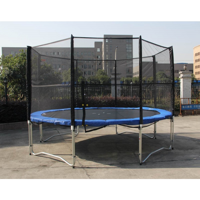Zupapa Round 14ft Trampoline Frame Safety Enclosure Spring: 12 Feet Outdoor Trampoline Enclosure Set With Safety Net
