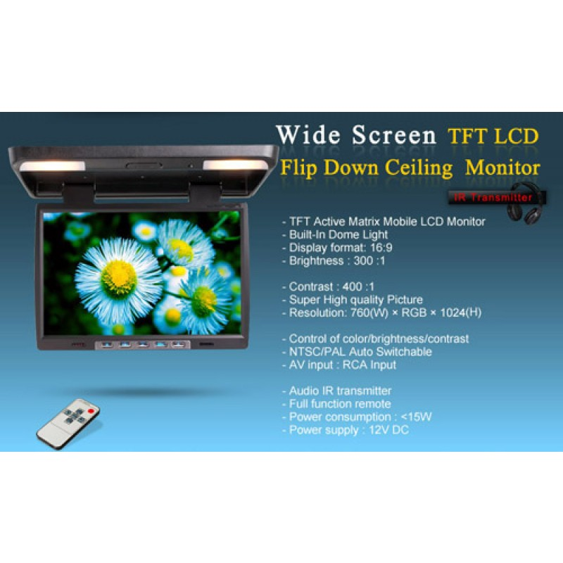 15.4 inch Flip Down Roof Monitor with Dome Light Infrared