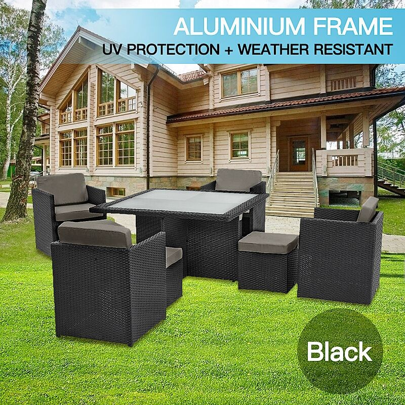 9pc Pe Wicker Outdoor Aluminum Garden Furniture Dining Setting Black 9010