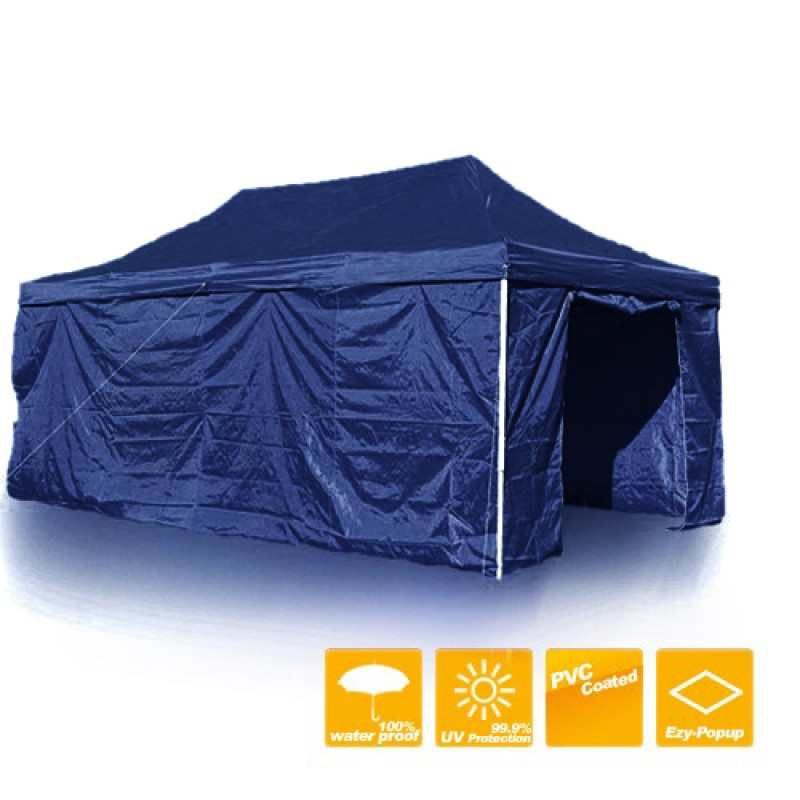 3X6M Folding Gazebo Marquee Pop Up Outdoor Shade Canopy Navy Blue