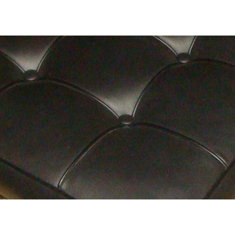 Barcelona Chair Inspired Single Sofa Black Italian Leather