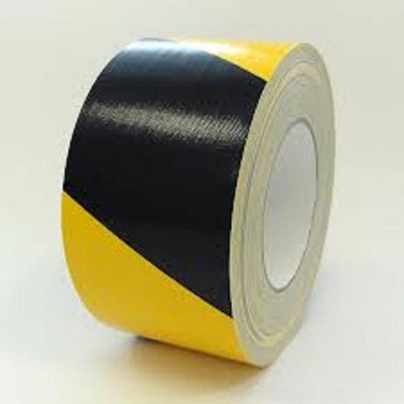 Black and Yellow Striped Floor Marking Tape 48mmx25m