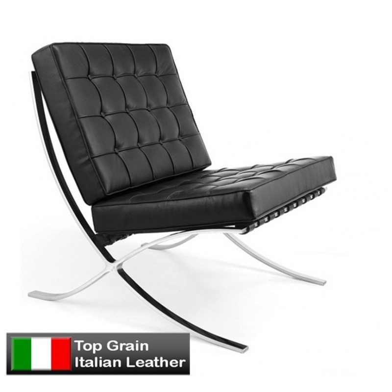Barcelona inspired chair single black italian leather for Barcelona chair replica schweiz