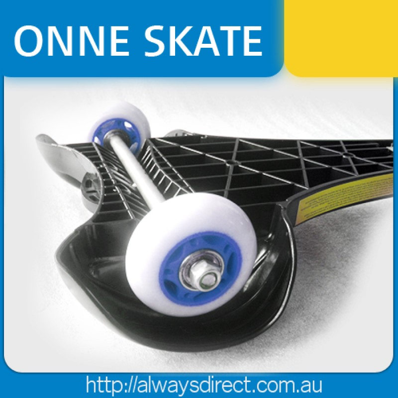 ONNE 3 Wheels Streetboard Caster Board Skateboard Blue